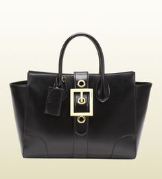 lady buckle black leather top handle bag