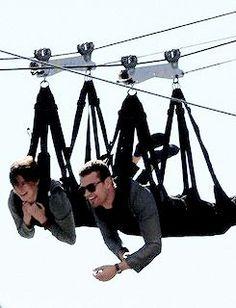Shailene Woodley and Theo James ziplining apparently theo isn't afraid if heights!!