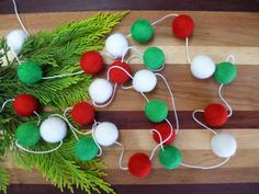 Christmas Felt Ball Garland Red White Green 2 Meters 6 Ft 30 Balls Christmas Tree Decoration Holiday Decor on Etsy, $17.01