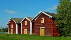 Louko granaries bounded Nurmo Church Square. South Ostrobothnia province of Western Finland. - Etelä-Pohjanmaa.