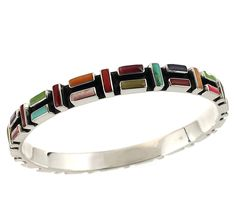 Sterling Silver Oxidized Multicolor Mosaic Bangle Bracelet -- Additional details at the pin image, click it  : Jewelry Bracelets