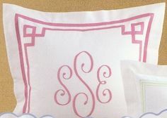 Fretwork Border Design Pique Bed Linens in coverlets, duvet covers and shams finished with a custom monogram. http://www.bellalino.com/Monogram%20%20Bed%20Linens/fretwork-bed-linens.htm