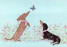 Dachshunds doxies in pink ribbons befriend door watercolorqueen