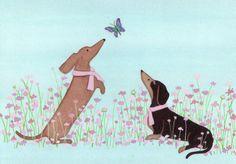 Dachshunds doxies in pink ribbons befriend door watercolorqueen