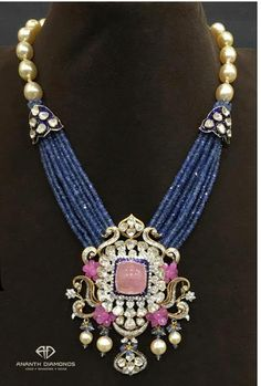 Polki diamond haram from Ananth Diamonds, artistically layered in blue sapphire beads, studded with pink tourmaline surrounded by diamonds Bijoux Design, Gold Jewellery Design, Bead Jewellery, Schmuck Design, Pendant Jewelry, Gold Jewelry, Beaded Jewelry, Jewelery, Tiffany Jewelry