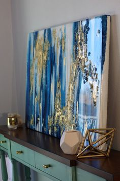 Sold 40 x 30 Large Acrylic Abstract Art Resin Art Painting Ikat Painting, Silver Leaf Painting, Gold Leaf Art, Abstract Canvas, Canvas Art, Dynamic Painting, Art Resin, Grand Art, Painted Leaves