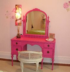 hot pink painted tables - Google Search Hot Pink Furniture, Funky Furniture, Shabby Chic Furniture, Painted Furniture, Furniture Ideas, Pink Vanity, Painted Vanity, Vintage Vanity, Vanity Redo
