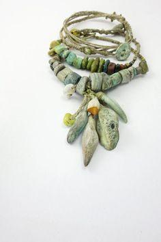 Bracelet | Grey Bird Studio Designs. Stoneware, porcelain, wood, czech glass, hemp twine, linen thread, beach combed stone