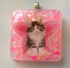 Cute Fairy Kitten Resin Sprinkle Necklace Pink by KawaiiWhimsy, $12.00