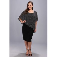 Adrianna Papell - Plus Size Dot Print Capelet Banded Dress (Black/Ivory) - Apparel - product - Product Review