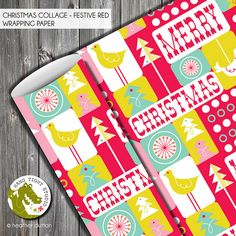 Christmas Collage Festive Red Wrapping Paper | Heather Dutton