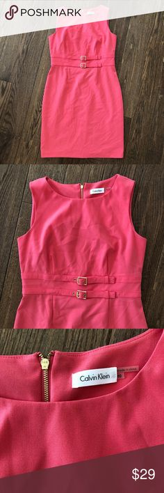 Calvin Klein dress size 10 mid length Excellent condition dress size 10, mid length,  zips on the back. salmon color. Calvin Klein Dresses Midi