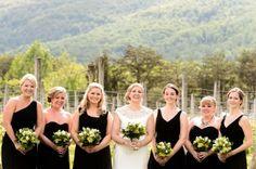 bridal party -Charlottesville Vineyard Wedding - photo by egomedia photography - ladies in black mismatched dresses