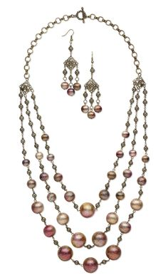 Jewelry Design - Triple-Strand Necklace and Earring Set with Copper Beads, Antiqued Gold-Plated Steel Links and Antiqued Gold-Plated Brass Chain - Fire Mountain Gems and Beads