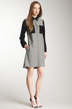 Glen Plaid Wool Blend Shirt Dress on HauteLook