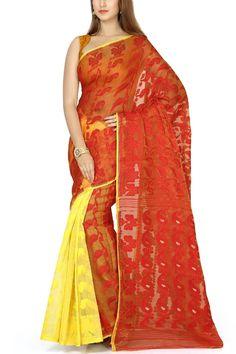 Red & Yellow Paisley Dhakai Cotton Jamdani Saree