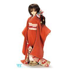 Volks Kyoto home Town Dolpa 9 Azalea -Tsutsuji Kimono 1/4 BJD MSD SDC MDD #DollClothingAccessories