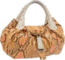 Luxury Accessories:Bags, Fendi Blush & Beige Python and Leather Spy Bag...