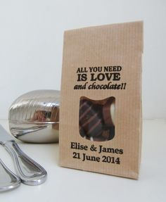 LOVE AND CHOCOLATE Wedding Favor-Personalized Brown Kraft Bags with Window-Handstamped Name/Date-Unique Wedding Favor-diy Wedding