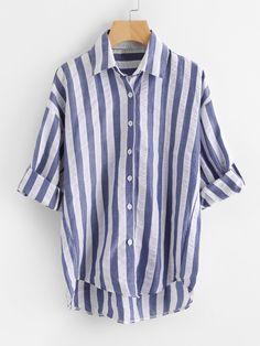 Blusa de rayas con hombro caído -Spanish SheIn(Sheinside)