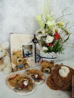 Купить Интерьерная композиция декупаж с цветами и мишуткой - Миша и Маша - композиция из цветов, композиция