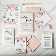 Pastel floral wedding invitations with real lace #pastel #floral