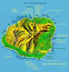 Kauai Map - shows location of Kauai vacation rentals and points of interest around Kauai. Click on names for more information and to see pictures.