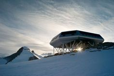 Antarctic Research Bases-Homes.  Temperatures can reach -100