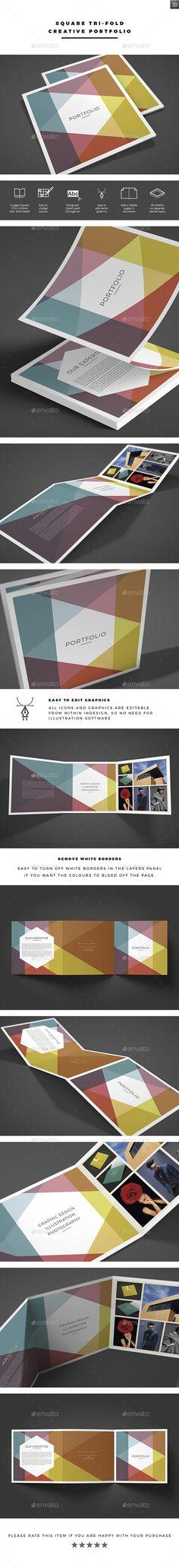 Square Tri-fold Creative Portfolio Brochure Template InDesign INDD. Download here: https://graphicriver.net/item/square-trifold-creative-portfolio/17074211?ref=ksioks