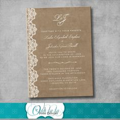 Wedding Invitation  Vintage Rustic Victorian by OohlalaPoshDesigns, $15.00