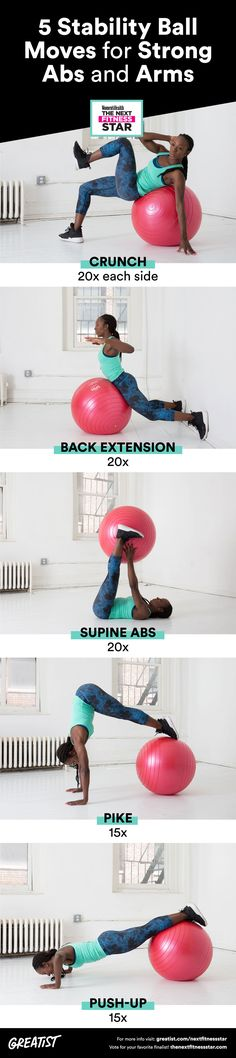 You'll love this core-focused workout from Next Fitness Star finalist Selena Watkins. #stability #ball #exercises http://greatist.com/move/exercise-ball-workout-moves-for-your-arms-and-abs