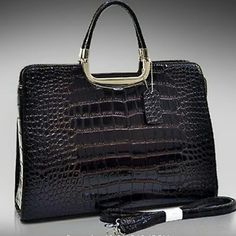 NWT alligator pattern patent handbag briefcase Sturdy and beautiful dark brown almost black rich looking women's handbag. Faux patent leather alligator. Did I say beautiful color? Bags