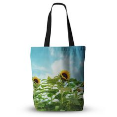 """Sylvia Cook """"Sunflower Field"""" Blue Green Everything Tote Bag from KESS InHouse"""