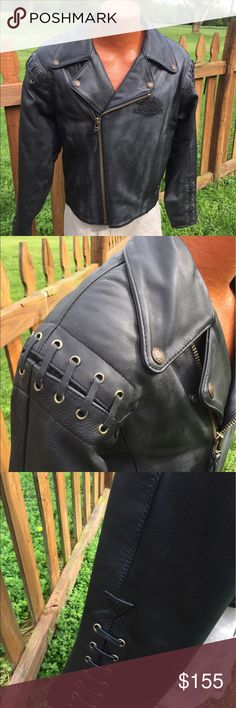 """Harley Davidson Mens Leather Jacket Size 42 Size 42. Super gently preowned. Measures: shoulder to shoulder: 22"""". Pit to pit: 22"""". Bottom of the collar in the back to the bottom of the jacket: 27"""". Shoulder to cuff: 25"""". Pit to cuff: 21.5. Harley owners group emblem. Be sure to view the other items in our closet. We offer both women's and Mens items in a variety of sizes. Bundle and save!! Thank you for viewing our item!! Harley-Davidson Jackets & Coats"""