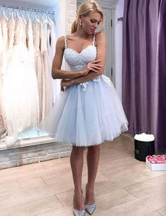 80b859d44d Cute A Line Spaghetti Straps Light Blue Homecoming Dresses Mini Cocktail  Dress