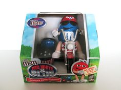 M&M's Motorcycle Candy Dispenser Red White and Blue Collectible New In Box