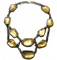 Odescalchi's Sun Drop collier is made of gold, silver, ialine quartz, and gold leaf. Photo courtesy of Lucia Odescalchi