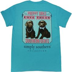 Simply Southern Tees Short Sleeve Preppy Puppies ($20) ❤ liked on Polyvore featuring tops, t-shirts, shirts, tees, tops/outerwear, preppy t shirts, henley t shirt, preppy shirts, women tops and blue moose tees