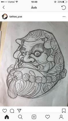 Japanese Drawings, Japanese Tattoo Art, Japanese Art, Japanese Design, Bhudda Tattoo, Lucky Tattoo, Hanya Tattoo, Koi Painting, Daruma Doll