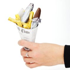 Fish and Chips en cornet chocolat au lait et praliné