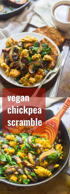 This savory vegan chickpea scramble is made from a chickpea flour batter that's scrambled up with garlicky sautéed spinach and mushrooms.
