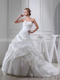 Maraline - corte evasé escote corazón vestido de novia de tafetán con apliques