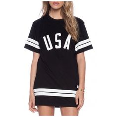 Simple Striped USA Letter Printed Short Sleeve Round Neck Mini T-Shirt... ($23) ❤ liked on Polyvore featuring dresses, t shirt dress, short-sleeve maxi dresses, short mini dress, t-shirt dresses and short dresses