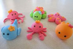 Under the sea fondant toppers