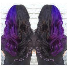 21 Pastel Hair Color Ideas for 2019 Half Colored Hair, Half And Half Hair, Half Dyed Hair, Split Dyed Hair, Dyed Hair Purple, Hair Color Purple, Hair Dye Colors, Dye My Hair, Purple Black Hair