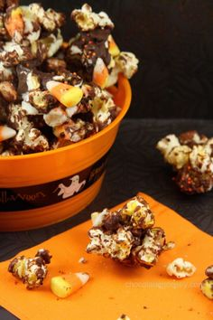 Halloween Candy Corn Chocolate Popcorn from @Carla | Chocolate Moosey