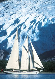 Lethantia, Sailing, Svartisen glacier, Norway, Photo Franco Pace//near Mo i Rana//look up on map! Beautiful Norway, Love Boat, Visit Norway, All Nature, Sail Away, Speed Boats, Wooden Boats, Tall Ships, Water Crafts