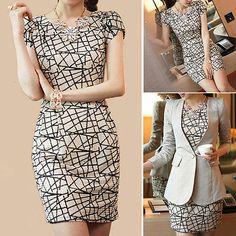49.99 Women Pencil Dress Slim Suit Long Blazer Set OL Work Business Formal Outer Wear