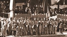 Grand Review Stand 1865. note president Johnson, generals Grant, Sherman and Cabinet members...