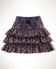 Ralph Lauren Girls Skirt, Girls Tartan Ruffle Skirt